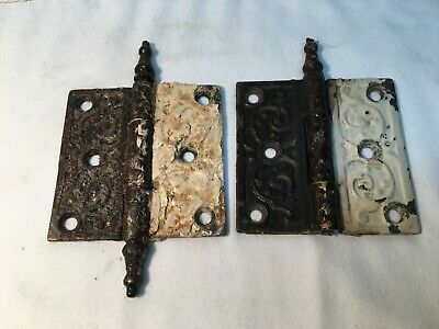 Pair Victorian Antique Cast Iron Ornate Steeple Tip Door Hinges 3.5in x 3.5in
