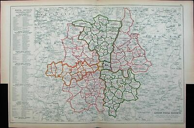 London Postal Districts Philately map Stamp Collecting c.1911 vintage rare map