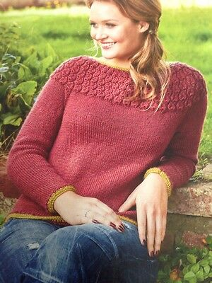 Knitting Pattern Lady/'s Fab DK Textured Sweater  Bust Size 76-112 cm 216