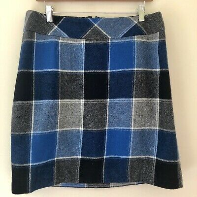 5bc42e8f46 Talbots Womens Size 10 Straight Pencil Skirt Wool Blend Career Blue Plaid  530