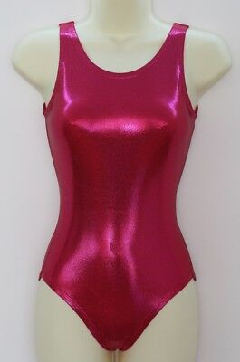 Leotard Cherry Pink Mystique Foil Finish Lycra Adults X/S, S, M, L, X/L
