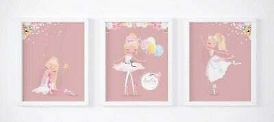 Ballerina Personalised Trio Set of 3 Name Picture Nursery Print Gift UNFRAMED