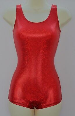 Boyleg Leotard Unitard Red Hologram Shattered Glass ADULTS X/S, S, M, L, X/L
