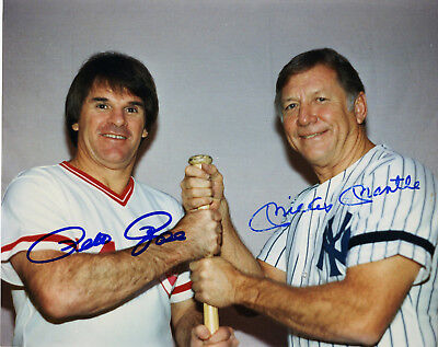PETE ROSE WITH MICKEY MANTLE  AND NOLAN RYAN  -   TWO 5x7 GREAT PHOTO REPRINTS