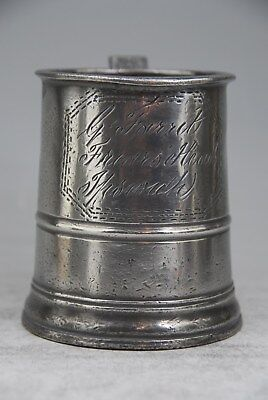 Fine Antique Pewter  Pint Tankard Mug Measure By Grimes – Friars Head, Ipswich C