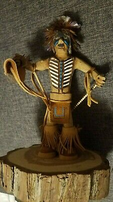 "Wooden Carved ""Shadow Warrior"" Signed Navajo Native American Indian"