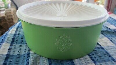 Vintage Tupperware Apple Green with White seal Servalier Biscuit Canister