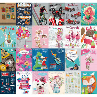 Pack Of 6 Adults/Childs Mixed/Assorted Birthday Cards