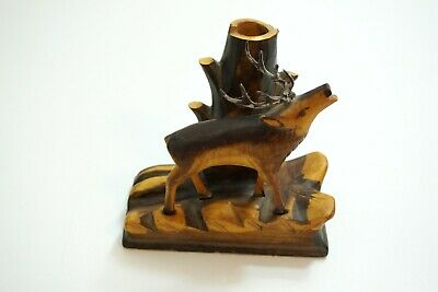 Vintage German Wooden Carved Deer / Stag On Base With Hollow Tree To Use As Vase
