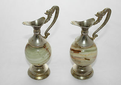 Pair of Silver plated/Marble Urns/Vases