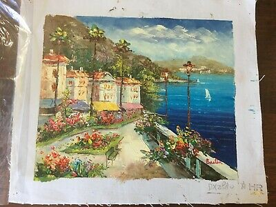 Vintage Village by the Sea  Oil Painting on Canvas Unframed 8x10 Signed