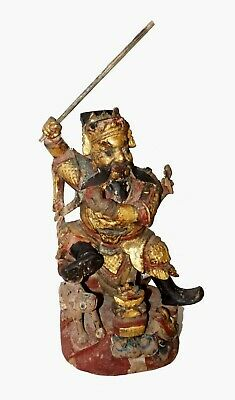 19C Chinese Wood Carved Deity or Seated Marshall Figure Sculpture (RgR)