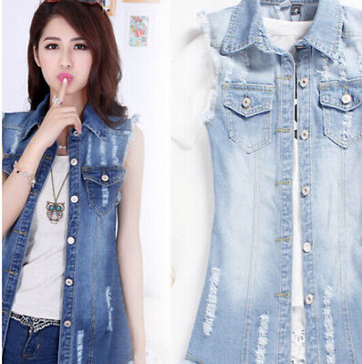 Womens Vests Girls Vintage Sleeveless Jeans Long Denim Jeans Waistcoat Shorts