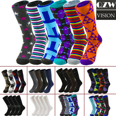 3-12 Pairs Mens Dress Funky Fashion Colorful Socks Causal Wedding Groovy 10-13