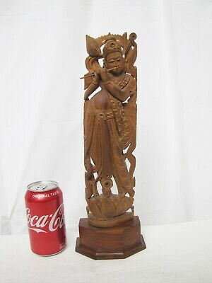 Vintage Hand Carved Wood Asian Lady Figure Statue