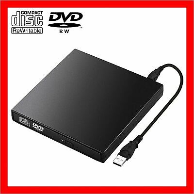 USB External CD RW DVD ROM Writer Burner Player Drive PC Laptop for Mac Windows