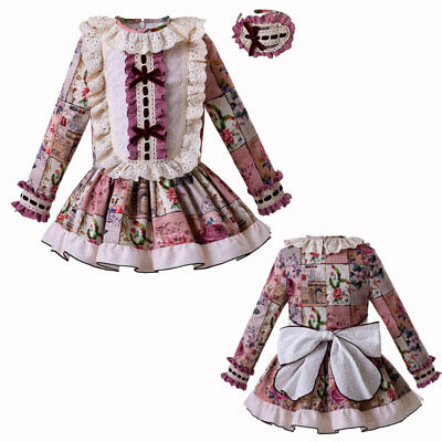 Spanish Romany Kids Girls Dresses Ruffle Floral Formal Party Wedding Long Sleeve