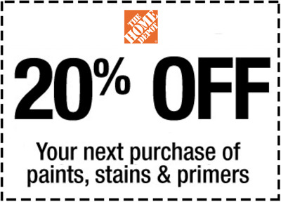 Home Depot 20% off Paint Stain primers *In Store * 1 to 5 mins EmaiI Delivered