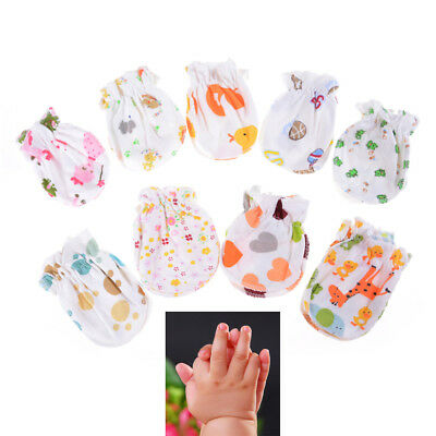2 Pairs Cotton Newborn Mittens Handguard 0-6M Baby Infant Anti Gloves!#