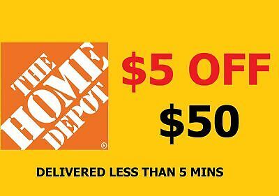 2x (TW0) Home Depot coupon $5 Off $50 in-store -1 to 5 mins EmaiI Delivery