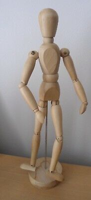 """Wooden 12"""" Manikin Mannequin Figure Artist Sketching Drawing Model On Stand"""
