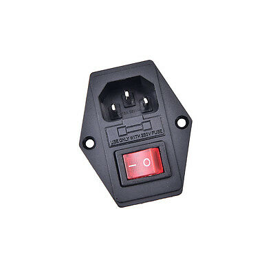 3Pin iec320 c14 inlet module plug fuse switch male power socket 10A 250V ^F