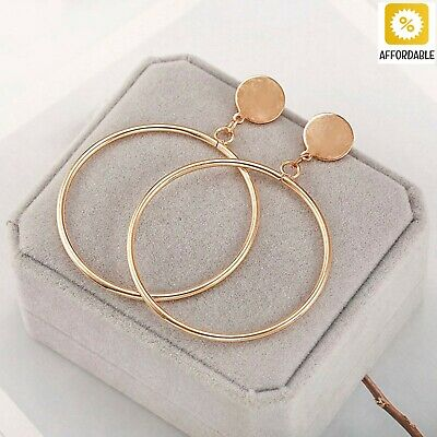 Earrings For Women Hoop Hollow Round Circle Statement Ears Jewelry Golden Silver