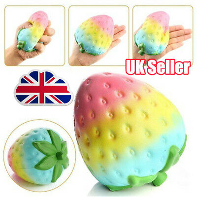 Simulation Rainbow Strawberry Super Jumbo Scented Squishy Slow Rising Fun Toy SQ