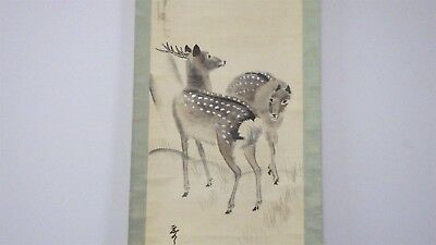 #12 Antique Japanese Scroll Painting, Japanese Maple and Deer Vintage Hanging