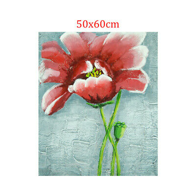 Abstract Hand Painted Art Oil Painting Wall Decor Canvas - Framed Red Flower