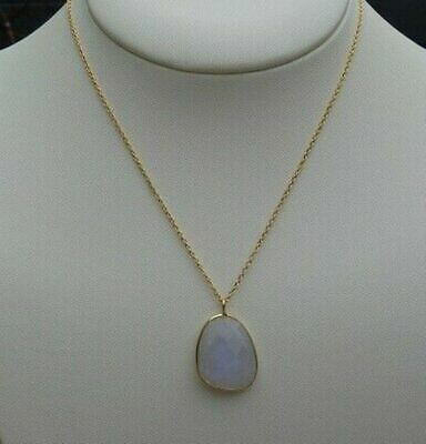 925 Solid Sterling Silver With 24K Gold Overlay Rainbow Moonstone Chain Pendant