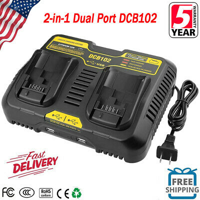 DCB102BP For DeWalt 12V & 20V Max Lithium-ion DCB102 Dual 2-Port Battery Charger