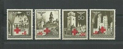 GERMANY 1940 OCCUPATION POLAND WW2 - Views of occupied cities RED CROSS ovpt !