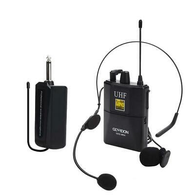 Geardon Rechargeable UHF Wireless Microphone System with Headset & Lavalier Lape
