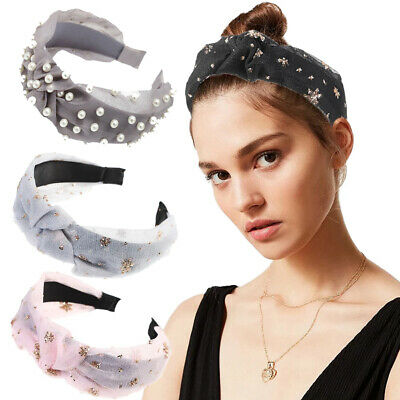 Women's Lace Knot Headband Hairband Pearl Tie Head Band Hair Hoop Accessories