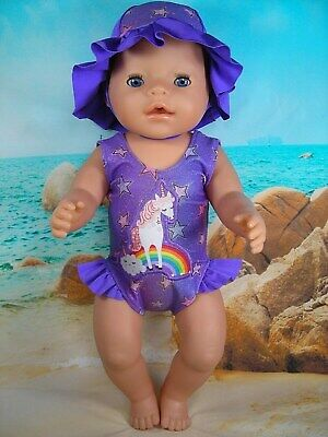 """Dolls clothes for 17"""" Baby Born Doll~PURPLE UNICORN~CLOUD SWIMMING COSTUME~HAT"""