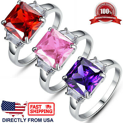 Women's Princess Cut Cubic Zirconia Stainless Steel Cocktail Engagement Ring