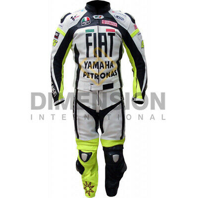 Valentino Rossi VR 46 Yamaha Fiat Motorcycle Leather Racing Moto GP Suit