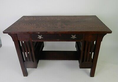 Stickley era Mission desk with side shelves by Bear Guaranteed MFG.  48""
