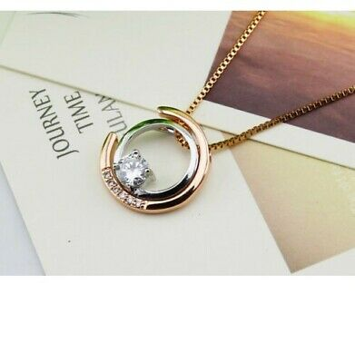 925 Sterling silver and gold CZ two rings Sun and Moon Pendant Necklace Love H15