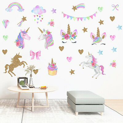 Rainbow Unicorns star shape Horse Wall Stickers for Bedroom pvc Animal Decal VU