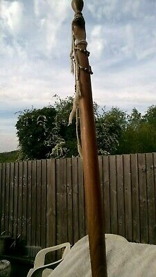 Vintage Wooden Walking Stick With Decorative Carved Snake Handle