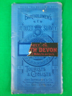 Vintage Cloth Map Sheet 36 South Devon 2 Miles to 1 inch Bartholomews