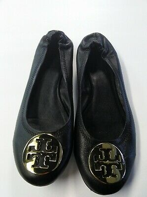 1b420504fc TORY BURCH REVA Black Leather Gold Emblem Ballet Flats Size 9 ...