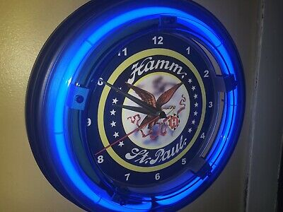 Hamm's St. Paul Beer Bar Man Cave Blue Neon Wall Clock Advertising Sign