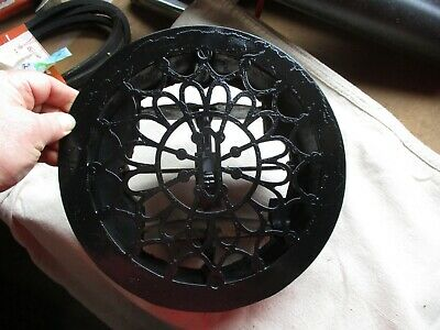 "Vintage Ornate Round Cast Iron Floor Register Grate Vent 10 1/2""  diameter 8 3/4"