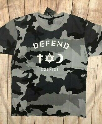 WHITE NEW DEFEND PARIS MEN/'S COEXIST JEWELS CREW NECK GRAPHIC T-SHIRT TEE