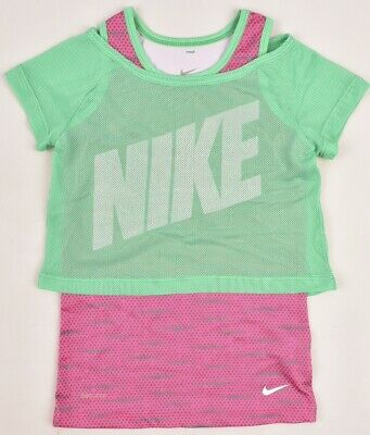 NIKE Girls' Kids' DRI-FIT Layered Top, Pink/Green, sizes 4 5 6 6-7 Years