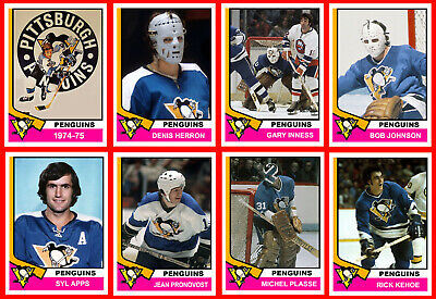 PITTSBURGH PENGUINS 1974-75 Hockey Card Style Fridge Magnets High Grade U-PICK