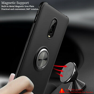 For OnePlus 7 Pro Case 6 6T Magnetic Soft TPU Ring Holder Shockproof Stand Cover